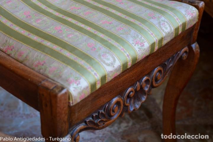 Antigüedades: Lote de 3 sillas isabelinas en madera tallada s.XIX - Estilo inglés, antiguas, sólida estructura - Foto 5 - 160877974
