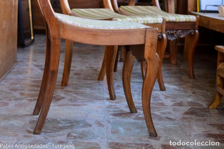 Antigüedades: Lote de 3 sillas isabelinas en madera tallada s.XIX - Estilo inglés, antiguas, sólida estructura - Foto 6 - 160877974