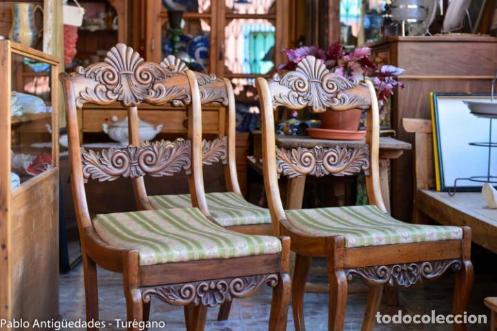 Antigüedades: Lote de 3 sillas isabelinas en madera tallada s.XIX - Estilo inglés, antiguas, sólida estructura - Foto 7 - 160877974