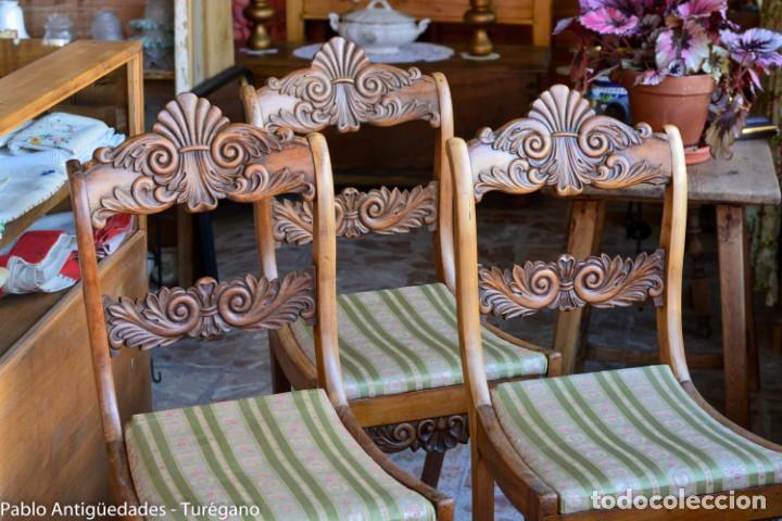 Antigüedades: Lote de 3 sillas isabelinas en madera tallada s.XIX - Estilo inglés, antiguas, sólida estructura - Foto 8 - 160877974
