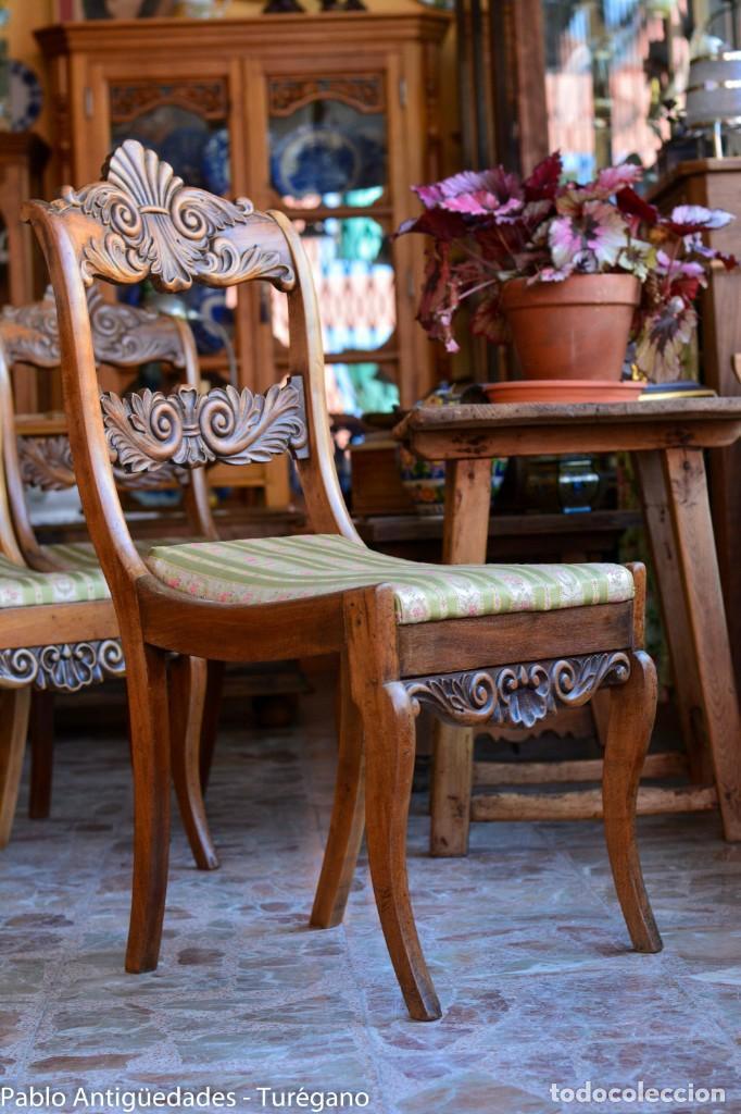 Antigüedades: Lote de 3 sillas isabelinas en madera tallada s.XIX - Estilo inglés, antiguas, sólida estructura - Foto 9 - 160877974