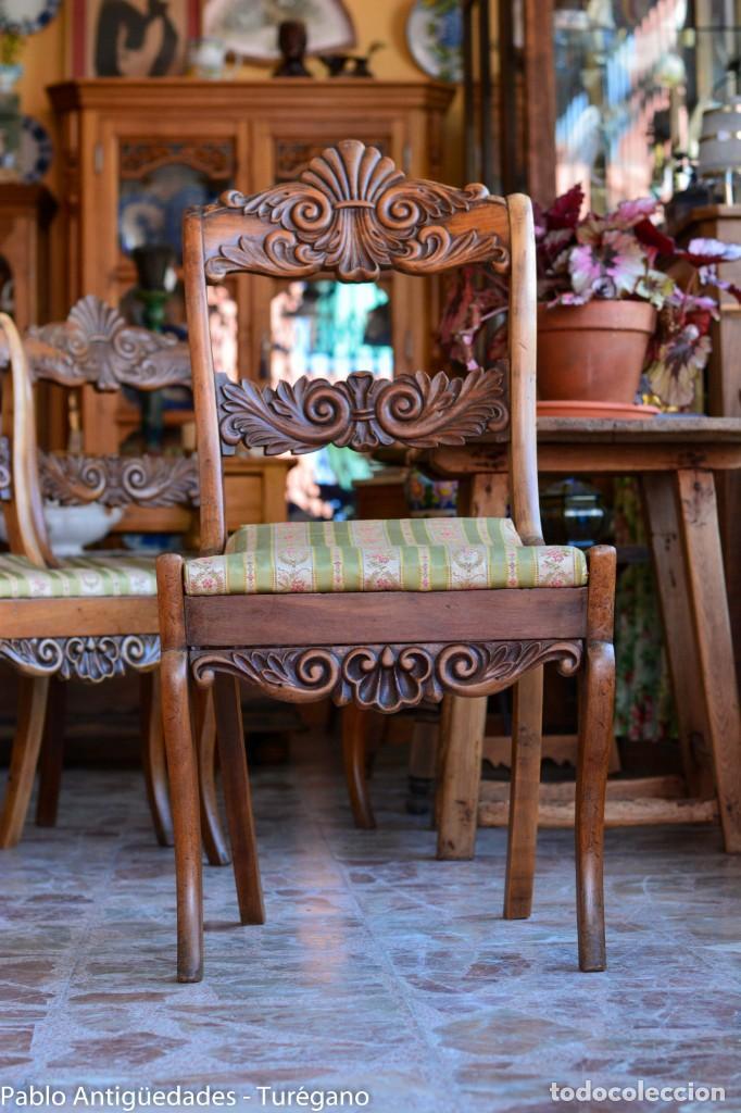 Antigüedades: Lote de 3 sillas isabelinas en madera tallada s.XIX - Estilo inglés, antiguas, sólida estructura - Foto 10 - 160877974