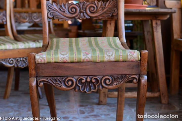 Antigüedades: Lote de 3 sillas isabelinas en madera tallada s.XIX - Estilo inglés, antiguas, sólida estructura - Foto 11 - 160877974