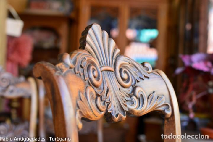 Antigüedades: Lote de 3 sillas isabelinas en madera tallada s.XIX - Estilo inglés, antiguas, sólida estructura - Foto 12 - 160877974