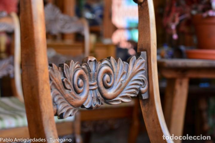 Antigüedades: Lote de 3 sillas isabelinas en madera tallada s.XIX - Estilo inglés, antiguas, sólida estructura - Foto 13 - 160877974