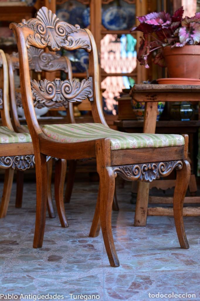 Antigüedades: Lote de 3 sillas isabelinas en madera tallada s.XIX - Estilo inglés, antiguas, sólida estructura - Foto 14 - 160877974