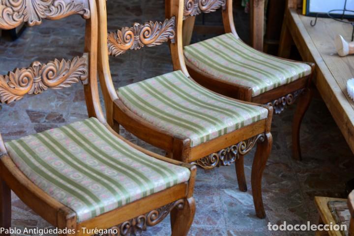 Antigüedades: Lote de 3 sillas isabelinas en madera tallada s.XIX - Estilo inglés, antiguas, sólida estructura - Foto 15 - 160877974