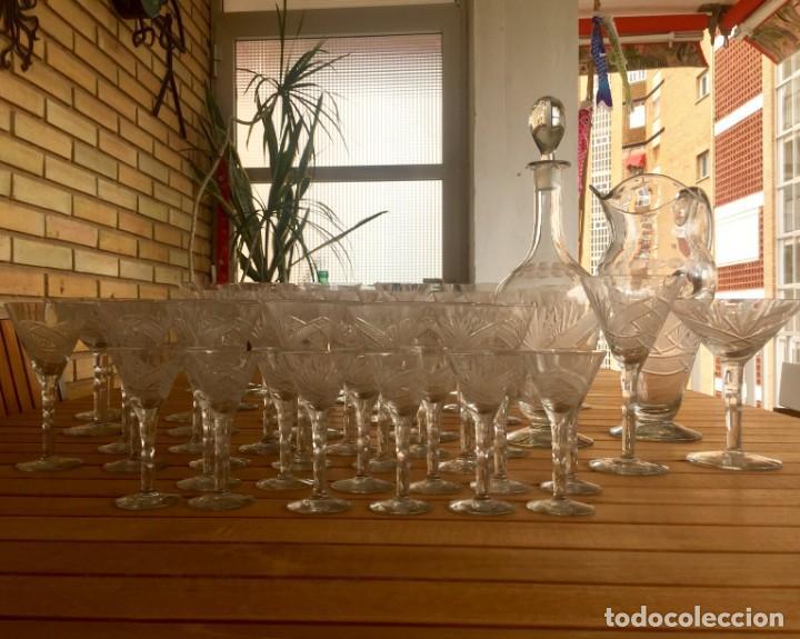 Antigüedades: Antigua Cristalería tallada 57 piezas + jarra y botella - Foto 28 - 160880710