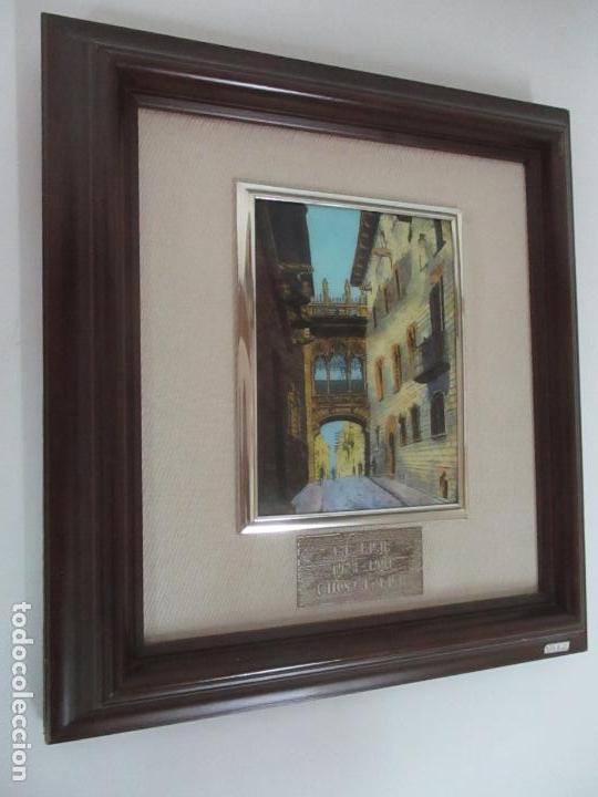 Antigüedades: Bonita Placa Conmemorativa - en Plata de Ley Esmaltada - Puente de la calle Bisbe, Barcelona - Foto 2 - 160912714