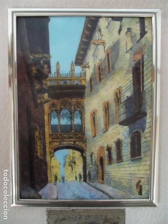 Antigüedades: Bonita Placa Conmemorativa - en Plata de Ley Esmaltada - Puente de la calle Bisbe, Barcelona - Foto 3 - 160912714