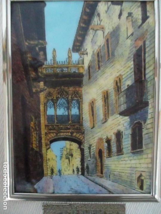 Antigüedades: Bonita Placa Conmemorativa - en Plata de Ley Esmaltada - Puente de la calle Bisbe, Barcelona - Foto 4 - 160912714