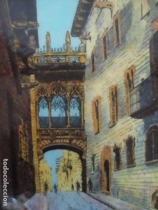 Antigüedades: Bonita Placa Conmemorativa - en Plata de Ley Esmaltada - Puente de la calle Bisbe, Barcelona - Foto 5 - 160912714