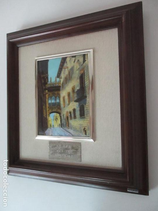 Antigüedades: Bonita Placa Conmemorativa - en Plata de Ley Esmaltada - Puente de la calle Bisbe, Barcelona - Foto 10 - 160912714