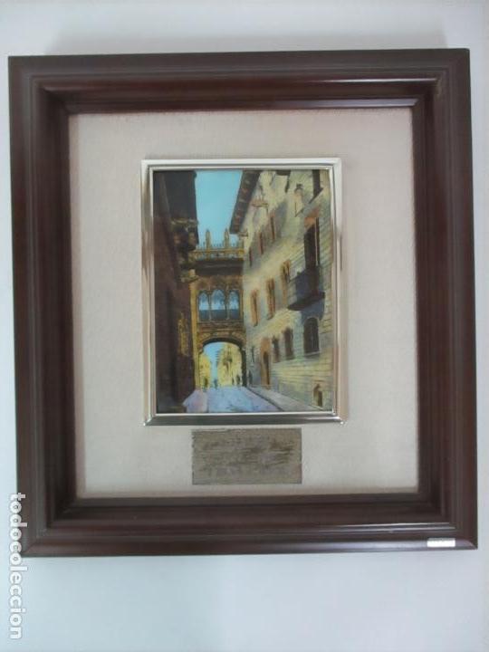 Antigüedades: Bonita Placa Conmemorativa - en Plata de Ley Esmaltada - Puente de la calle Bisbe, Barcelona - Foto 11 - 160912714