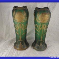 Antigüedades: JARRONES CRISTAL ART NOUVEAU ANTIGUOS PRECIOSOS. Lote 160943114