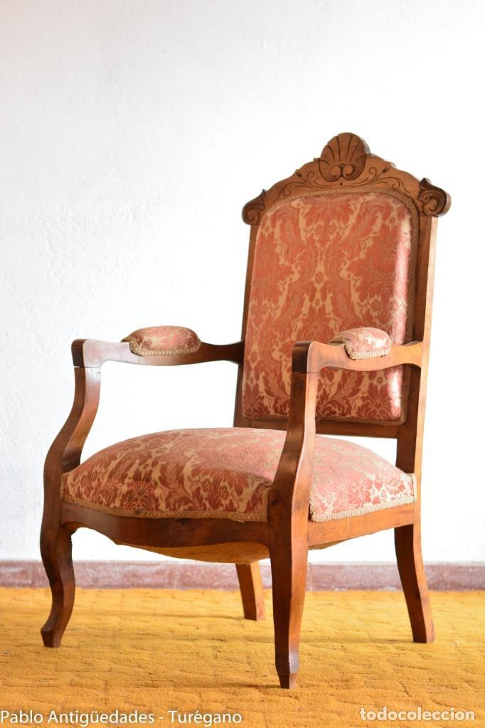 Antigüedades: Butaca o silla Luis XV en madera de nogal tallado - Tapizado en motivos vegetales - Silla Isabelina - Foto 14 - 160976478