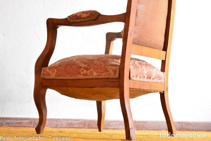 Antigüedades: Butaca o silla Luis XV en madera con bonita talla - Tapizado en motivos vegetales - Silla Isabelina - Foto 21 - 160976478