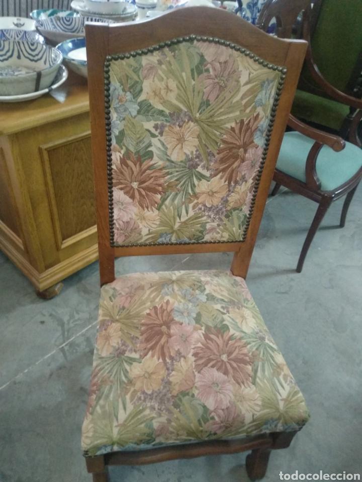 Antigüedades: Antiguas sillas de nogal y estampado salon comedor - Foto 2 - 160978854