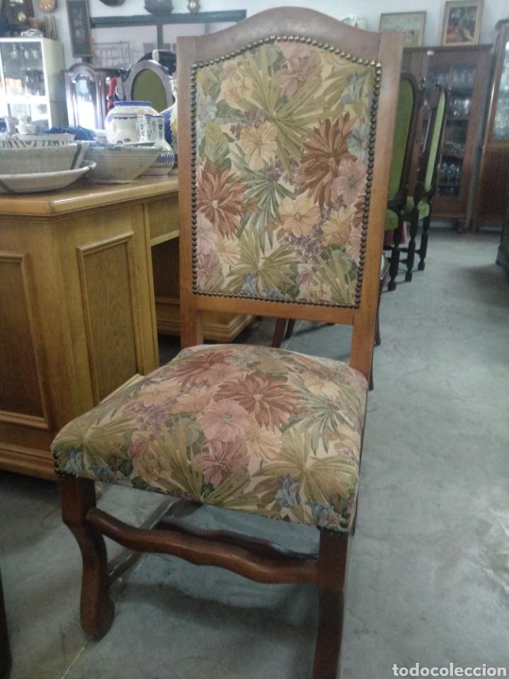 Antigüedades: Antiguas sillas de nogal y estampado salon comedor - Foto 3 - 160978854