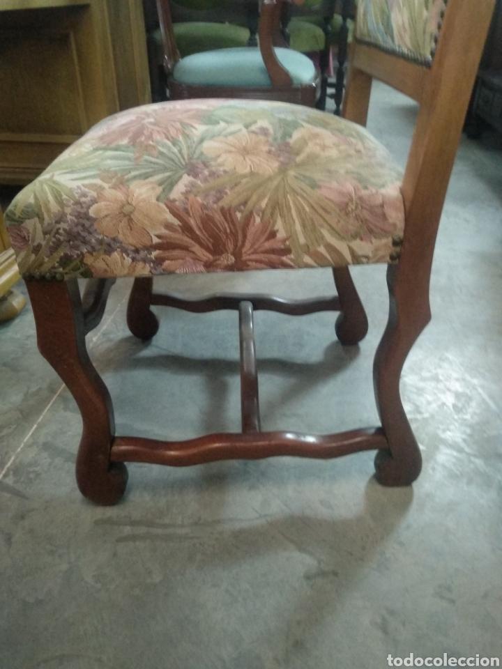 Antigüedades: Antiguas sillas de nogal y estampado salon comedor - Foto 4 - 160978854