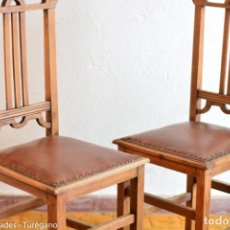 Antigüedades: PAREJA DE SILLAS AÑOS 50 - HAY 6 UNIDADES MADERA MACIZA - ESTILO ART NOUVEAU, DECORACIÓN VINTAGE SKY. Lote 160982506