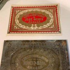Antigüedades: XIX GENUINE ANTIQUE CUBAN CIGAR BRONZE PLATE IMPRESSION HOYO MONTERREY DUNHILL DAVIDOFF. Lote 161029706