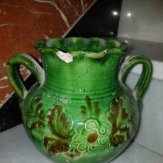 Antigüedades: PRECIOSO JARRON ANTIGUO VIDRIADO. Lote 161103286