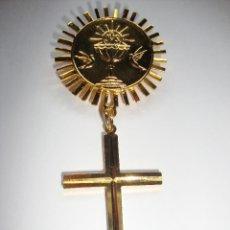 Antigüedades: MEDALLA RELIGIOSA DE 1ª COMUNIÓN DORADA NUEVA PERFECTA . Lote 161127470