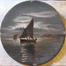 Antigüedades: ANTIGUO PLATO PICKMAN Y CIA. PINTADO AL OLEO Y FIRMADO -GRAN MEDALLA DE ORO PARIS 78- VELEROS. Lote 161227978