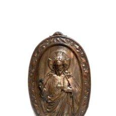 Antigüedades: ANTIGUA PLACA DE JESÚS, PLACA DE CRISTO, COBRE PLATEADO, ADORNO RELIGIOSO, COLGAR EN PARED. Lote 161284238