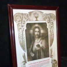 Antigüedades: ANTIGUO DIPLOMA RECORDATORIO PRIMERA COMUNIÓN. LA GRAN PROMESA DEL SAGRADO CORAZÓN DE JESÚS, 1936. Lote 161324554
