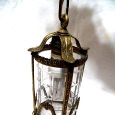 Antigüedades: ANTIGUO FAROL ART NOUVEAU, ART DECO, FAROL TECHO, LÁMPARA TECHO CON CRISTAL, FAROL FRANCÉS, BRONCE. Lote 161373994