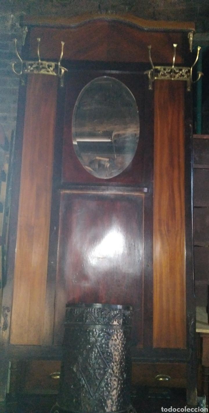 Antigüedades: PARAGUERO PERCHERO SOMBRERERO RECIBIDOR MODERNISTA - Foto 3 - 161376026