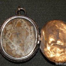Antigüedades: RELICARIO EN PLATA CINCELADA CON TAPA, FINALES SIGLO XVII PRINCIPIO XVIII. LECHE DE LA VIRGEN. Lote 161403878