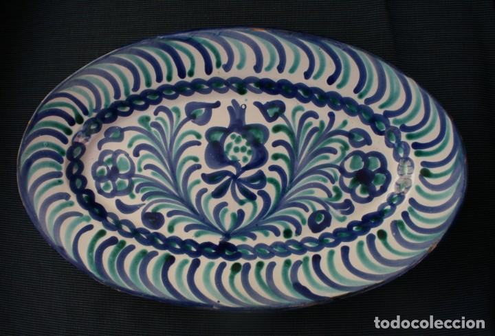 FUENTE BANDEJA FAJALAUZA BARRO CERAMICA POPULAR GRANADA PINTADO A MANO Y ESMALTADO DIAMETRO 37 X 23 (Antigüedades - Porcelanas y Cerámicas - Fajalauza)