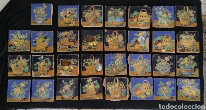 MAGNÍFICO LOTE 31 AZULEJOS HIJO DE MENSAQUE TRIANA. BODEGONES (Antigüedades - Porcelanas y Cerámicas - Triana)