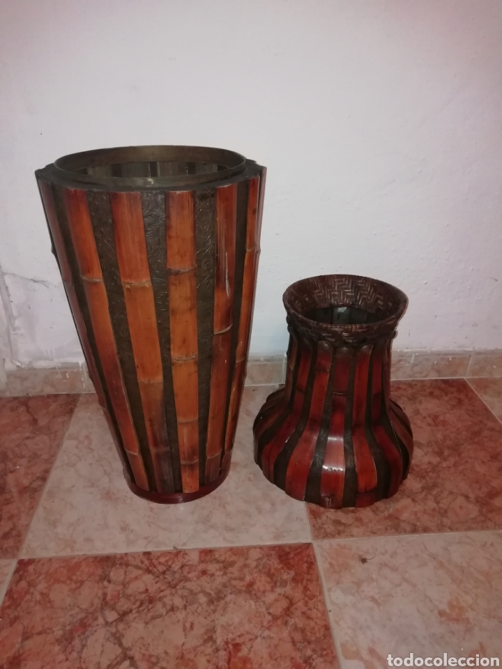 Antigüedades: Jarron de cuero y bambú - Foto 3 - 161559524