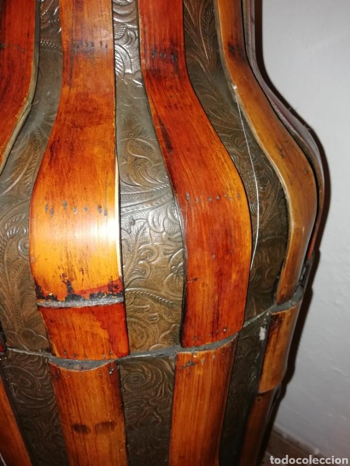 Antigüedades: Jarron de cuero y bambú - Foto 5 - 161559524