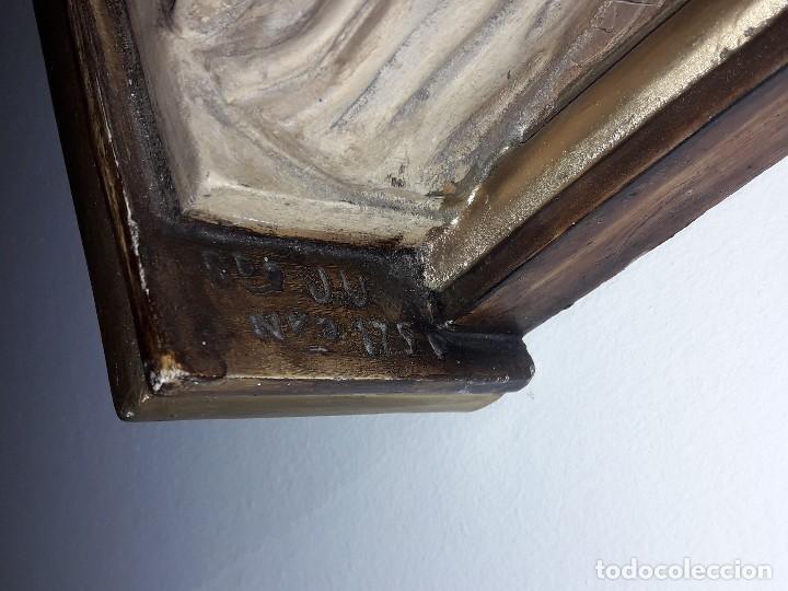 Antigüedades: Bajorrelieve última cena, yeso y madera firmado y numerado - Foto 6 - 161566602