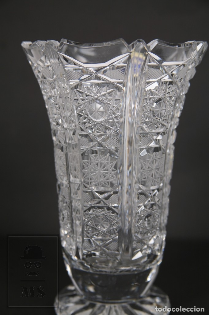 Antigüedades: Jarrón de Cristal de Bohemia - Tallado a Mano, 24% PbO - Caja Original - Checoslovaquia - Foto 10 - 89058024