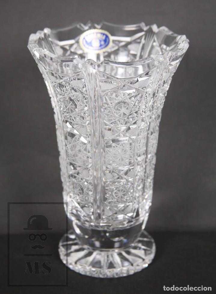 Antigüedades: Jarrón de Cristal de Bohemia - Tallado a Mano, 24% PbO - Caja Original - Checoslovaquia - Foto 11 - 89058024