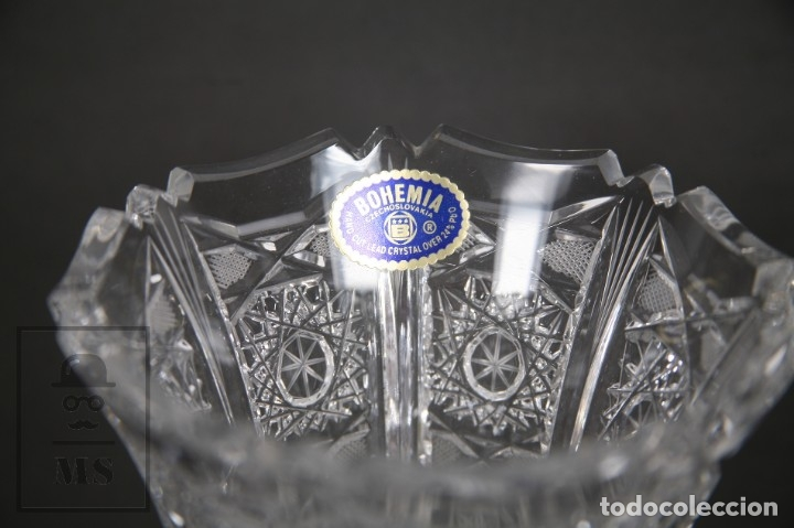 Antigüedades: Jarrón de Cristal de Bohemia - Tallado a Mano, 24% PbO - Caja Original - Checoslovaquia - Foto 12 - 89058024