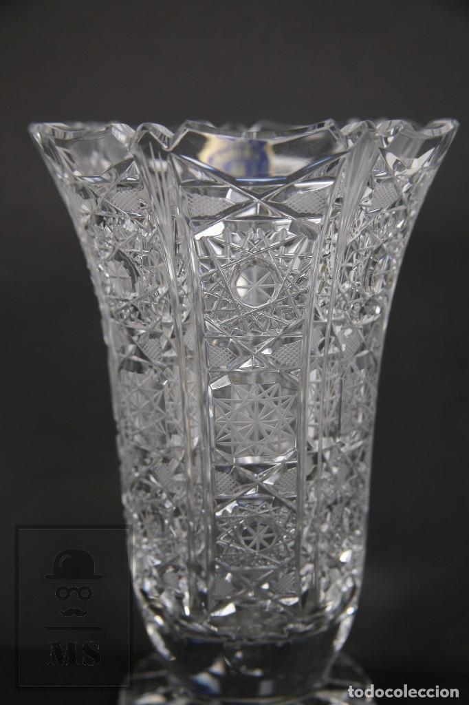Antigüedades: Jarrón de Cristal de Bohemia - Tallado a Mano, 24% PbO - Caja Original - Checoslovaquia - Foto 13 - 89058024
