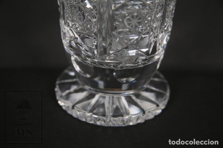 Antigüedades: Jarrón de Cristal de Bohemia - Tallado a Mano, 24% PbO - Caja Original - Checoslovaquia - Foto 14 - 89058024