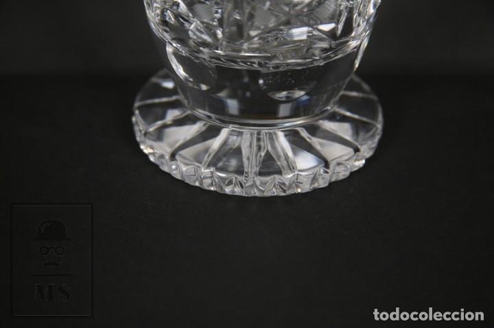 Antigüedades: Jarrón de Cristal de Bohemia - Tallado a Mano, 24% PbO - Caja Original - Checoslovaquia - Foto 15 - 89058024