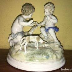 Antigüedades: QUERUBINES EN PORCELANA. SELLADA Y NUMERADA. HISPANIA? ALGORA?. Lote 161634716