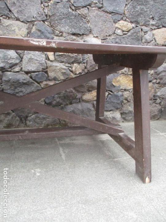 Antigüedades: Antigua Mesa Rústica, Catalana - en Madera de Ribera, Pintada - 150 cm Largo - S. XVIII-XIX - Foto 5 - 161668714