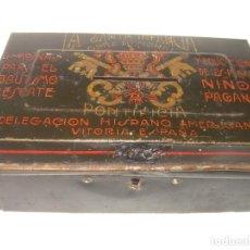 Antigüedades: ANTIGUA HUCHA DE HOJALATA LITOGRAFIADA..LA SANTA INFANCIA OBRA MISIONAL PONTIFICIA.. Lote 161687882