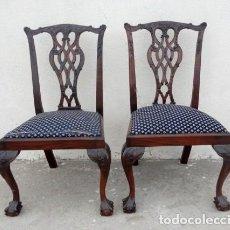 Antigüedades: PAREJA DE SILLAS CHIPENDALE EN MADERA DE CAOBA . Lote 161698846