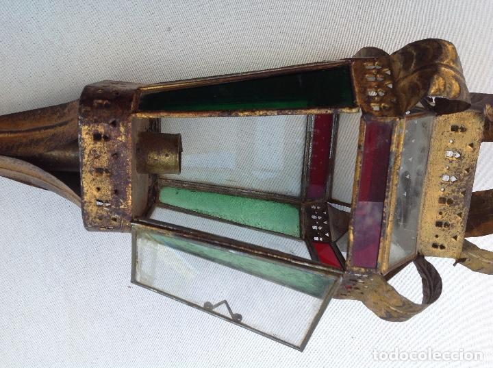Antigüedades: Farol procesional de hojalata dorada y cristal - Foto 3 - 161701722